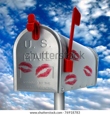 mailbox with kisses - stock photo