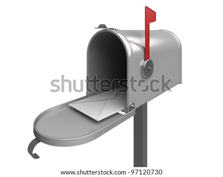 Mailbox with letter envelope. 3d rendered image
