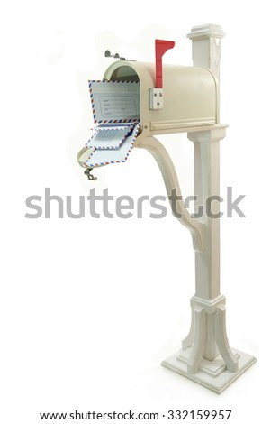 Mailbox with letters on the decorative column on a white background