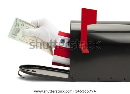 Mailbox with Uncle Sam Handing Over Tax Return Check Isolated on White Background. - stock photo