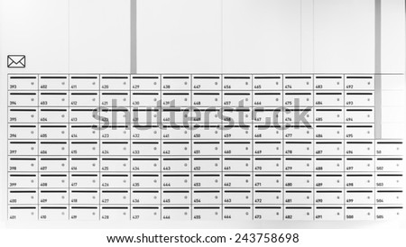 Mailboxes in Apartment with postal envelope sign symbol - stock photo