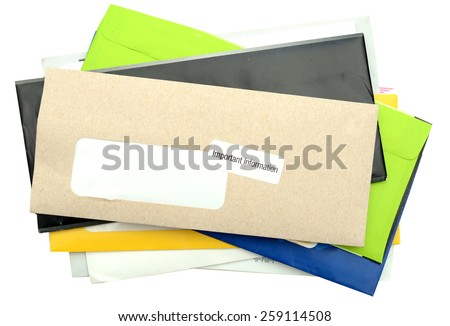 Mails and bills on stacking isolated white