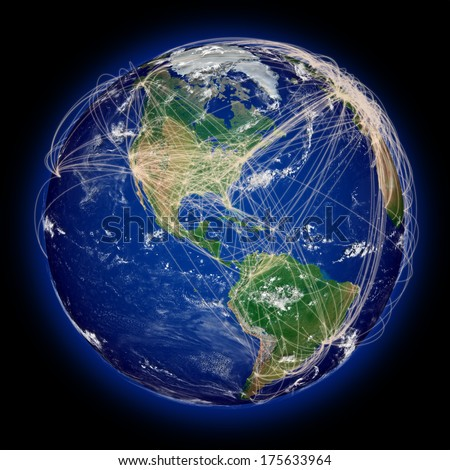 Main air travel flight paths on American continent. Highly detailed planet surface. Elements of this image furnished by NASA. - stock photo