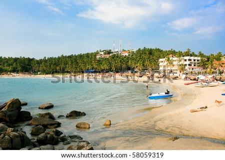 Main beach in Kovalam,  Kerala, India - stock photo