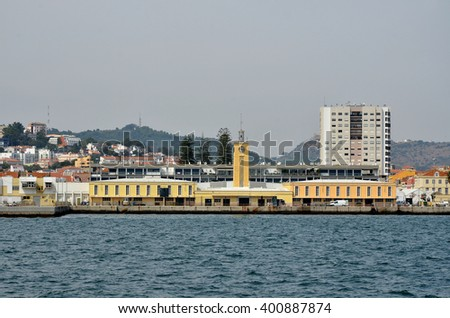 Main building in the port of Setubal in Portugal - stock photo