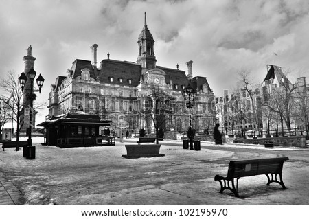 Main Building of the City Hall in Old Montreal. - stock photo