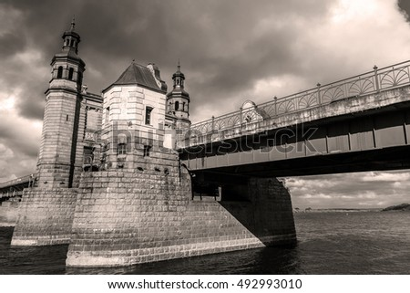 Main buildings of the Queen Louise bridge over the Neman river. Russia and Lithuania border. Black and white.