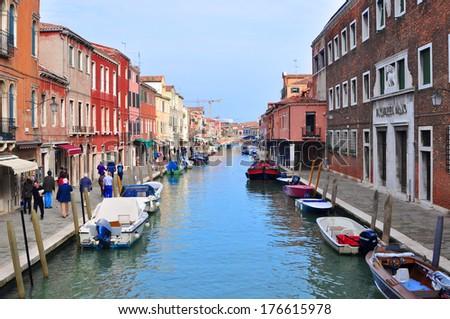 Main Canal, Murano Island, Venice, Italy - stock photo