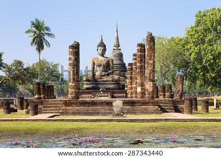 Main chapel in Wat Maha That, Shukhothai Historical Park, Thailand - stock photo