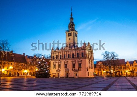 Main city square - Town Hall in Chelmno, Poland.