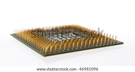 Main computer chip isolated on the white background