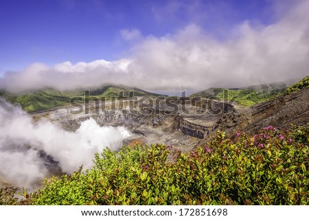 Main crater of the Poas Volcano in Costa Rica. - stock photo