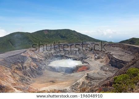 Main crater with lake of Poas Volcano, Costa Rica - stock photo