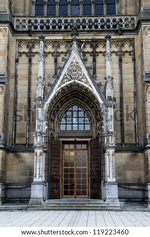 Main door of the neo-gothic New Cathedral (Neuer Dom) in Linz, U - stock photo