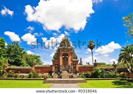 Main entrance a Temple in Bali, Indonesia on a beautiful sunny day - stock photo