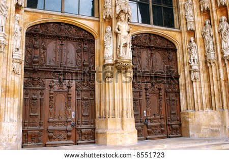 main entrance doors to cathedral in Ulm, Germany