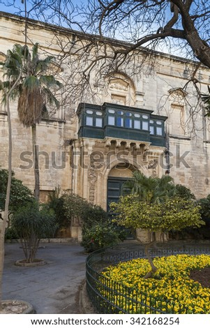 Main entrance of a big palace in Valletta, Malta - stock photo