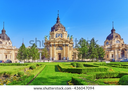 Main Entrance of  Szechenyi Baths, Hungarian thermal bath complex and spa treatments. Budapest. - stock photo