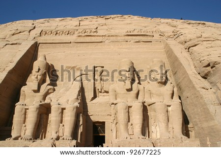 Main entrance to the Temple of Ramses  near Aswan, Egypt with sixty foot images of the Pharaoh