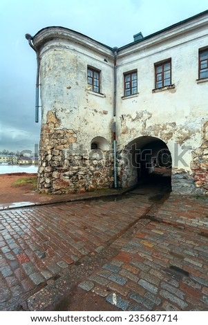 main entry to middle part fortress - stock photo