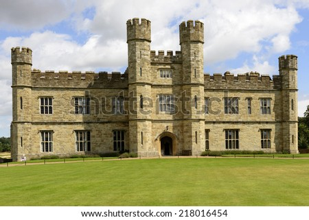 main facade of Leeds castle, Maidstone, England view of the facade prospecting on the main lawn at medieval castle