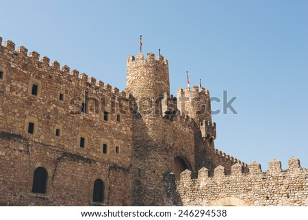 Main facade of the castle of Siguenza in Guadalajara, Spain - stock photo