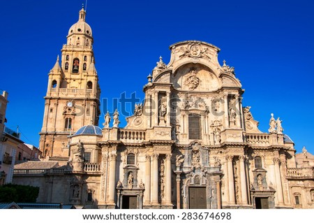 Main facade of the Cathedral Church of Saint Mary in Murcia, Spain. Landmark of the city - stock photo