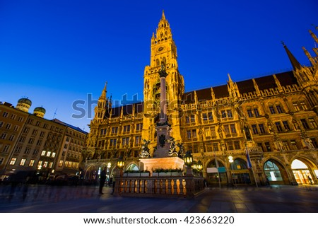 Main facade of the New Town Hall (Neues Rathaus) building  - stock photo