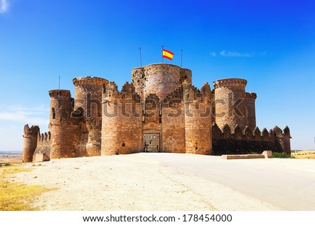 Main gate in Gothic  castle at Belmonte. Cuenca, Spain - stock photo