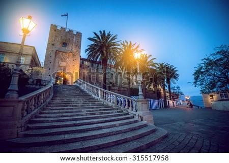 Main gate of old town of Korcula on Korcula island on Adriatic sea in Croatia - stock photo