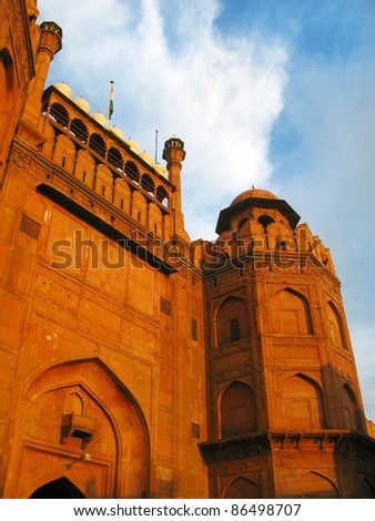 Main gate of Red Fort at sunset, in New Delhi, India - stock photo