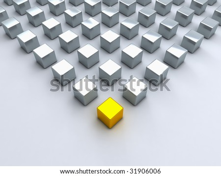 Main gold cube and many steel cubes