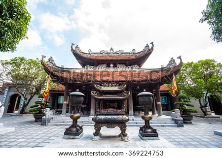 main hall of Do Temple, is a temple near Hanoi of which the central section was built in 1028,