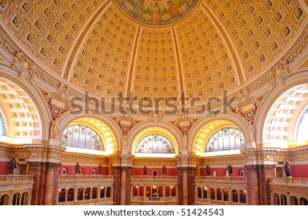 Main Hall of the Library of Congress ceiling, Washington, DC - stock photo