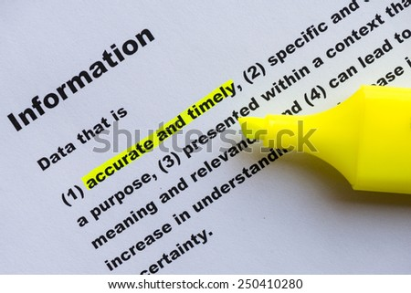 main keyword of information definition highlighted - stock photo
