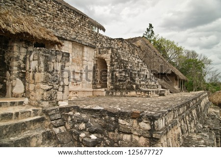 Main piramid in ancient Maya city of Ek Balam. Ek Balam in the yucatan is a recently discovered Maya city lost in the jungle archaeological sites.