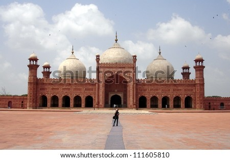 Main prayer hall and court of Badshahi Mosque, Lahore, Pakistan - stock photo