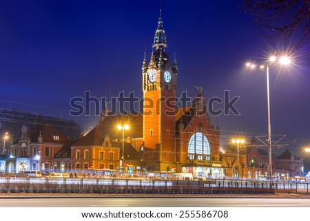 Main railway station in the city center of Gdansk, Poland - stock photo
