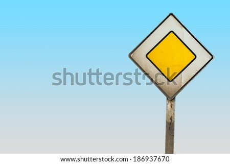 main road sign with clipping path - stock photo