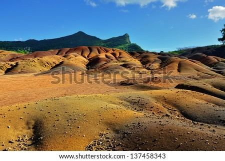 Main sight of Mauritius island. Unusual volcanic formation seven colored earths in Chamarel.