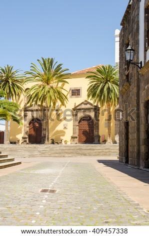 Main square in Garachico with monastery of San Francisco, Tenerife, Canary islands, Spain - stock photo