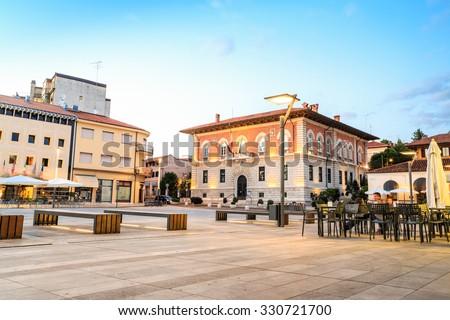 Main square in Monfalcone city center, Italy - stock photo