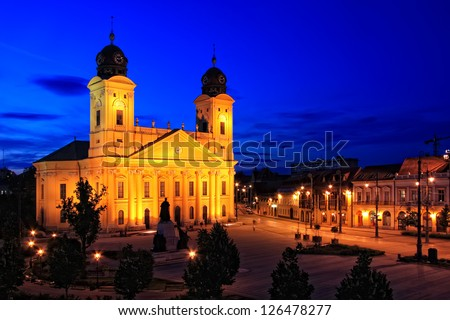 Main square of Debrecen city, Hungary at night