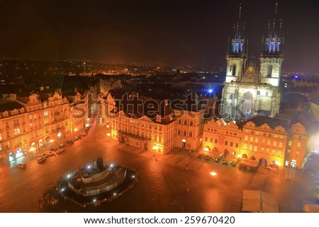 Main square of the Prague Old Town by night with the Gothic church in the backgroud, Czech Republic - stock photo