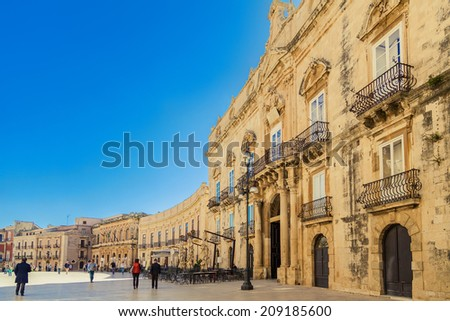 main square Piazza del Duomo in Ortigia, old town of Syracuse, Italy - stock photo