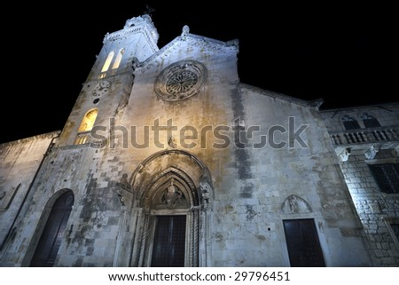 Main square with cathedral in old medieval town Korcula  by night. Croatia, Europe. - stock photo