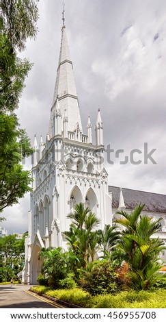 Main steeple of St Andrews Cathedral in Singapore. It is an Anglican church.