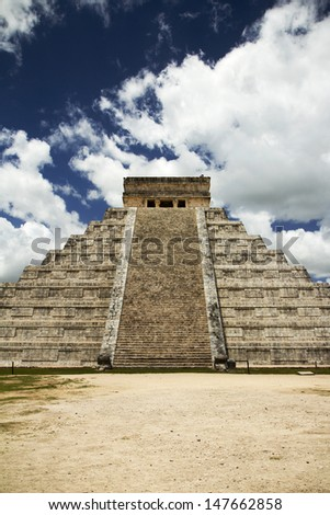 main steps to the great pyramid in Mayan capital Chichen Itza, Mexico - stock photo