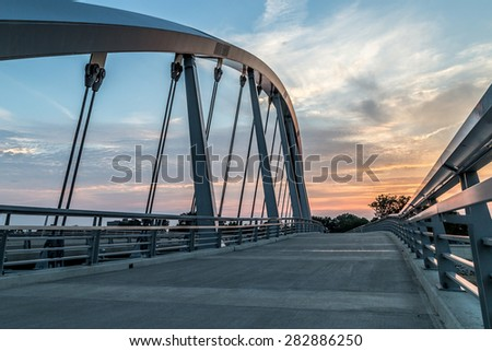 Main Street Bridge - Columbus Ohio with sunset - stock photo