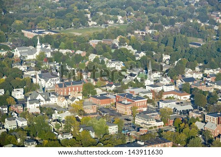 Main Street in the town of Saco, Maine - stock photo